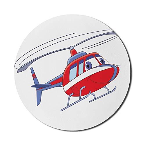 Helikopter-Mauspad für Computer, Hubschraubercharakter im Cartoon-Stil Flying Transportation Plane Chopper, rundes, rutschfestes, dickes, modernes Gaming-Mousepad aus Gummi, 8 \'rund, zinnoberrot, weiß