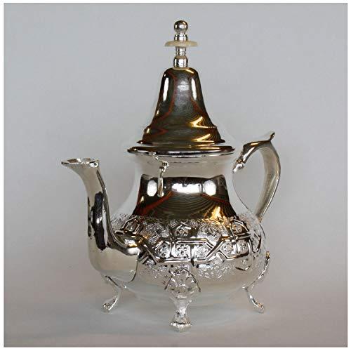 Casa Moro Marokkanische orientalische Teekanne Elfassi 0,8l   Kunsthandwerk aus der Stadt FES Marokko   Echt versilberte Messing Kanne   Handgefertigt mit arabischen Mustern verziert