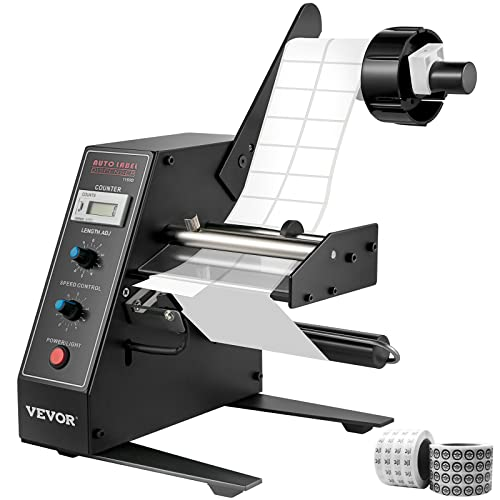 VEVOR Máquina de Etiquetado, Máquina de Rebobinado Etiquetas, con la Impresora de Código de Fecha, Maquina de Etiquetas, Dispensador Vertical de Etiquetas (AL-1150D)