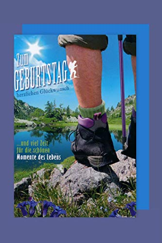 Wandern Geburtstag Karte Grußkarte Stiefel Berge Alpen 16x11cm