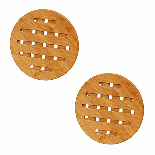 2 Pcs Round Bamboo Wooden Pot Stand Non-Slip Trivet Mats Multi-Purpose Pan Pot Protectors for Kitchen Table Mats Hot Pots Pans Spoon Bowl Dish Rest and Kettles
