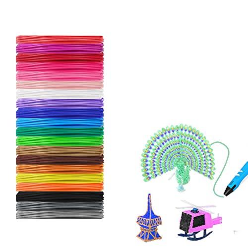 3D Stift Nachfüller, 20 Farben, 5 Meter Pro Farbe, 3D Stift Filament FDA 1.75mm Filament Buntes, 3D Stift Filament, 3D Druck Filament Umweltfreundlich für 3D-Drucker