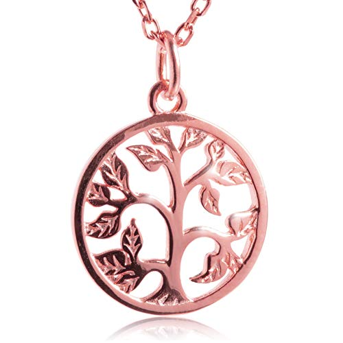 FABACH Lebensbaum Kette mit Anhänger aus 925 Sterling Silber - Halskette und Baum des Lebens Kettenanhänger - Tree of Life Necklace für Damen in Rosegold