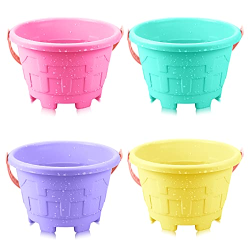 Faxco 4 Pack 7.2'' Candy Color Plastic Beach Castle Mold Buckets, Small Sand Bucket Water Bucket for Beach Fun Great Summer Party Accessory