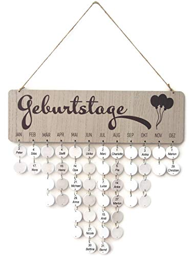 Bada Bing Hochwertiger DIY Geburtstagskalender Holz Scheiben Familienkalender Dekoration zum Aufhängen Mit 50 Scheiben zum Selbstbeschriften 29