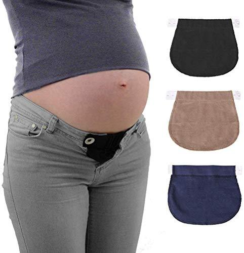 KAIMENG - Extensor de Cintura elástica para Embarazo, 3 Unidades, Color Negro, Azul Marino y Caqui