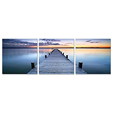 SLS Vision. Calmness. 60 x 20 inches. Ready to Hang. Contemporary Art, Modern Wall Decor, 3 Panel Commercial Grade Machine Framed Giclee Canvas Print. Home Decoration Painting. A1175L