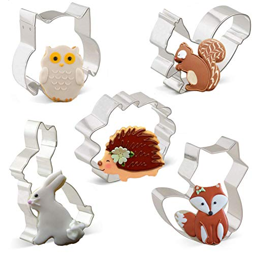 Iindes Ausstechformen Kaninchen, Eule, Fuchs, Igel und Eichhörnchen 5 Stück Tiere Ausstecher Set für Kinder