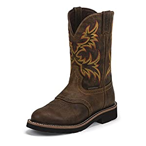 Justin Mens Stampede Wtrproof Tan Work Boot