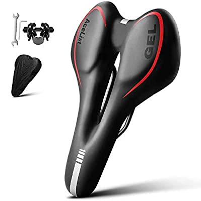 AceList Bike Seat Most Comfortable Bicycle Seat Gel Waterproof Bike Saddle with Central Relief Zone and Ergonomics Design for Mountain Bikes,Road Bikes,Men and Women