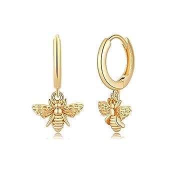 Bee Huggie Hoop Earrings S925 Sterling Silver Post Honey Bumble Bee Dangle Hoop Earrings 14K Gold Plated Cute Dangling Huggy Bumblebee Earrings for Women Girls Jewelry Gifts