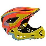KIDDIMOTO - Casco Integral para Bicicleta, Patinete y Patinete con Protector de Barbilla Desmontable - tamaño pequeño (48-53cm) - Color Amarillo y Naranja