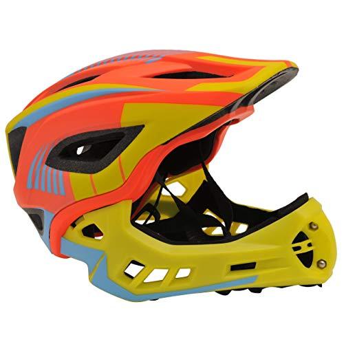 KIDDIMOTO 2 in 1 Casco Integrale da Ciclismo con mentoniera Rimovibile per Bambini e Ragazzi - Arancione/Giallo - S (48-53cm)