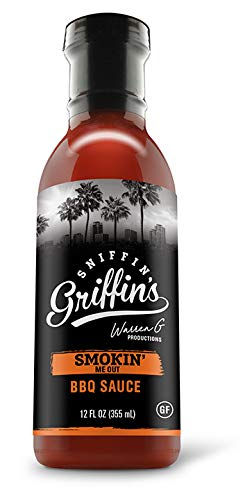 Sniffin Griffins BBQ Sauce - Red Chili Pepper Sauces for Grilled Steaks & Burgers - Unique Barbeque Seasoning, Condiment, & Marinade Gift for Pit Master & Foodie - Smokin' Me Out - 12floz