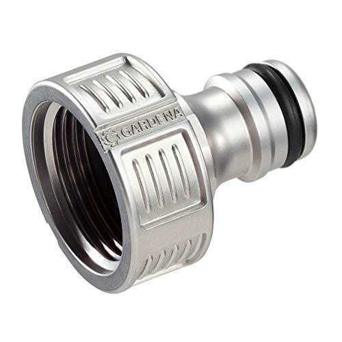 Gardena Premium Hahnverbinder 26.5 mm (G 3/4 Zoll): Adapter für Wasserhähne, wertiges Metall, spritzfreier Wasserfluss, frostsicher, verpackt (18241-20)