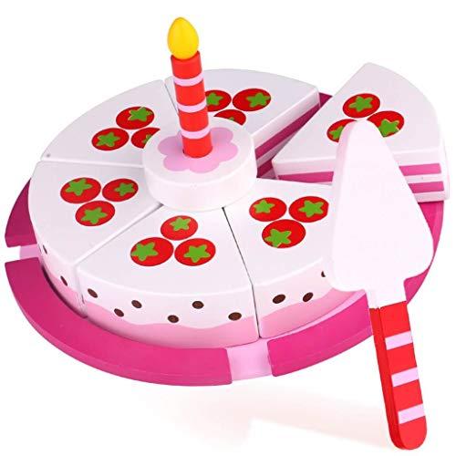 Tooky Toy Jeux en bois - Gâteau d'anniversaire en bois, Rose
