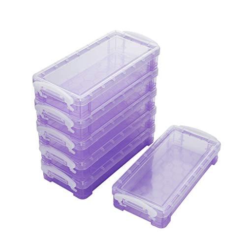 Sumnacon - Juego de 6 cajas de almacenamiento de plástico con botón blanco para lápices de colores (morado transparente)