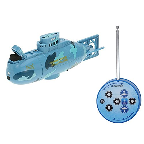 Egoelife 6 Channel 40MHz Mini RC Submarine Toy Ship Electric Underwater Submarine for Kids Gift (Blue)