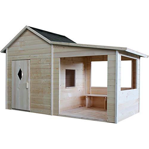 SOULET Spielhaus Igor mit Anbau (Gartenhütte, Holzhaus, Kinderspielhaus für 4 Kinder, Hochwertiges und unbehandeltes Trockenholz Kiefer) 793781