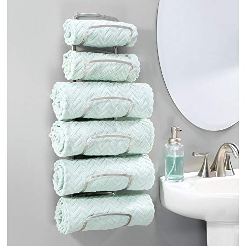 mDesign Modern Decorative Six Level Bathroom Towel Rack Holder & Organizer, Wall Mount - for Storage of Bath Towels, Washcloths, Hand Towels - Satin