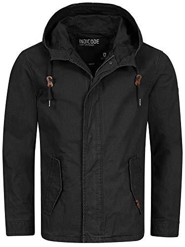 Indicode Herren Lough Jacke mit Kapuze aus 100% Baumwolle | Herrenjacke Markenjacke Outdoorjacke Baumwolljacke Kapuzenjacke Men's Jacket Übergangsjacke Freizeitjacke für Männer Black M