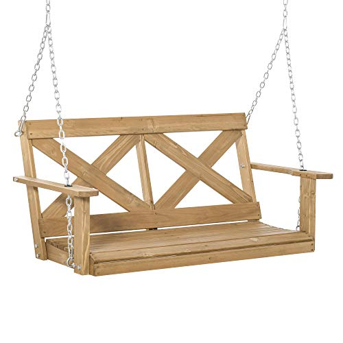 Outsunny 2-Person Wooden Porch Swing with Sturdy Steel Chains & Rustic X Shaped Design for The Outdoors, Natural