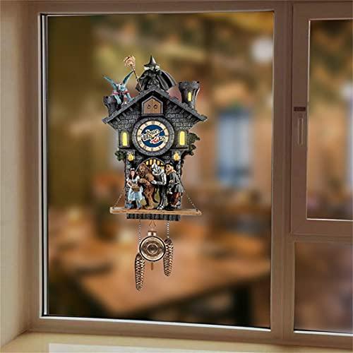 Papel pintado de reloj de pared de Halloween, pesadilla antes de Navidad Cuckoo Clock Pegatina, Pegatinas de Halloween para adultos Niños Murciélagos Botellas de agua Pegatinas para scrapbook