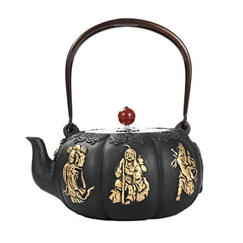 Tetera de hierro fundido de estilo chino, ocho inmortales que cruzan el diseño del mar, para cocina casera, hotel, restaurante