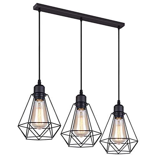 Lámparas Colgante Vintage 3 Luces, iDEGU Lámparas de Techo Industrial Metal Iluminación de Techo E27 en Estilo Jaula Geométrica - Negro