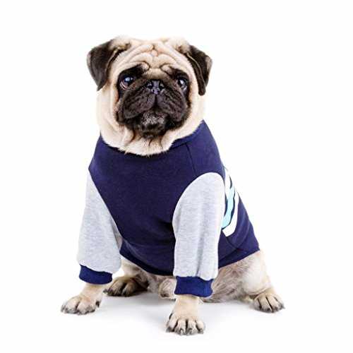 Smdoxi Pet Clothes Dog Long Long Sleeves Shirt Stripe Printed Pet Coat (M, Blue)