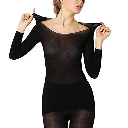 Majome Conjunto de Ropa Interior térmica de Invierno sin Costuras para Mujer Conjunto de Tops y Pantalones Calientes 2 Piezas de Traje