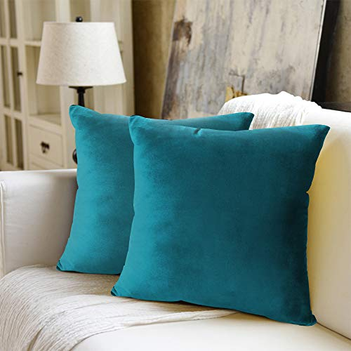 WEYON Velvet Soft Decorative Square Throw Pillow Case Cushion Covers Pillowcases for Sofa Bedroom with Invisible Zipper 2 Pack 18'x18'(Teal)