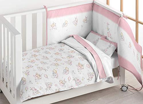 Pielsa Baby 122183 - Piumino con protezione per culla, piumino e paracolpi per bebè, invernale, colore: rosa, dimensioni: 120 x 60 cm