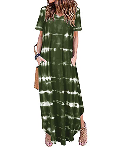 ACHIOOWA Sommerkleid Damen Lang Batik Tie-Dye Kurzarm Maxikleid Leicht Floral Loose Freizeitkleid Grün-E15050 M