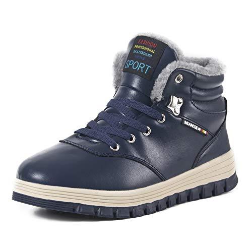 IceUnicorn Herren Winterschuhe Warme Schneestiefel Gefüttert Outdoor rutschfeste Stiefel Leder Knöchel Stiefel Wasserdicht Boots(Blau,45EU)
