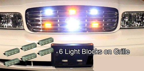 18 X LED Emergency Vehicle Strobe Lights for Front Grille Deck Warning Light (18 LED, Amber and White)