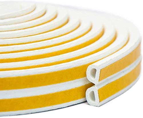 Dichtband Kautschuk-Dichtungsstreifen für Tür- / Fensterschalldämmstreifen Selbstklebende Klebeband-Fensterdämmdichtung - Beste Türdichtung, D-Weiß, 9 * 6 MM, 6M(19.7ft)