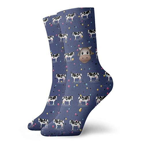 Warm-Breeze Cartoon Funny Cow Compression Socks Unisex Socks Fun Casual Crew Socks Thin Socks Short Ankle For Athletic Moisture Wicking