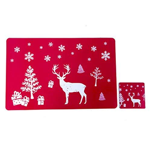 ACYY 6pcs / Set El Sistema Vector De La Navidad Creatividad Mantel De Navidad De Navidad De PVC Lavable Impreso (Color : Black)