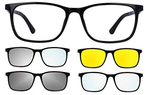 THEMA 281 Farbe 002 schwarz glänzend - Rahmen für Brille und Sonnenbrille + 4 Clip-on Original