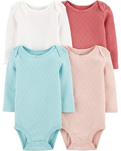 Carter's Baby 4 Pack Long Sleeve Bodysuit Set, Girls Solid, 9 Months