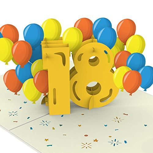 PaperCrush® Pop-Up Karte 18. Geburtstag [NEU!] - Besondere Geburtstagskarte zur Volljährigkeit für Mädchen und Jungen (18 Jahre) - Handgemachte Glückwunschkarte inkl. Umschlag