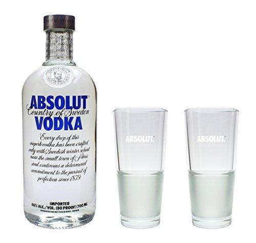 Absolut Vodka 40% 0,7l Set mit 2 Longdrink Gläsern 2cl/4cl