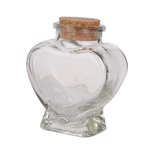 MICHAELA BLAKE Mini Forma de corazón Botella de Vidrio Mini Botellas de Cristal del corazón tarros Borrar Memoria tarros de Botella Contenedores Viales Deseo con Corcho