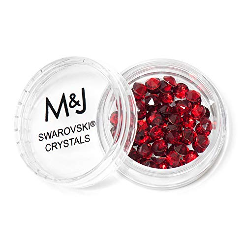 M&J Trimming Swarovski Rhinestone Crystals - Small Flatback Crystal Gems for Nail Art, Clothes, Jewelry, Crafts, and More - 96 Piece Set of 2058 Xirius Rose Cut Rhinestones (SS16, Red)