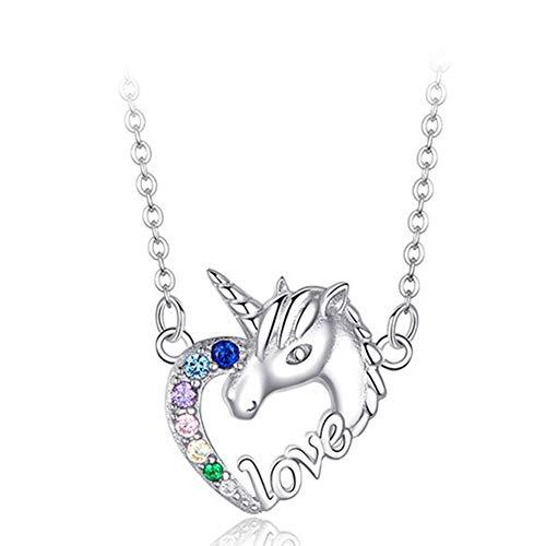 INTVN Collares de Unicornio Niña Plata de Ley 925 Collar de la Amistad Colgante Corazón con Multicolor Circonita Cúbica Pegaso Caballo 45CM