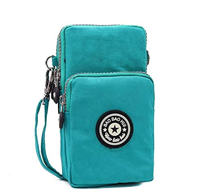 Premium Canvas Small Crossbody Bags Cell Phone Purse Wallet Carrying Pouch for Motorola Moto G7 Plus/G7 Play/G6 Play/G6 Plus/Z4 Play/Z3/Samsung Galaxy S9 Plus/Note 8/A8/J8/S10/S9(Aqua)