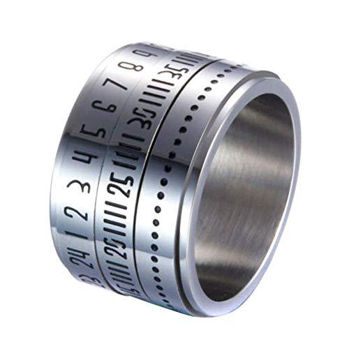 BOLANA 14MM Titan Ring für Herren mit Titan Gravieren Retro Breit Rotierend Nummer Uhr Time Best Original Farbe Stahl Ring Kreis - Silbrig