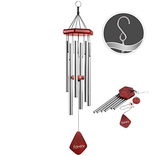 Famiry Wind Chimes for Outside Deep Tone, 32 Inch Sympathy Wind Chimes Outdoor Clearance, Memorial Wind Chimes with 6 Metal Tubes & Hook, Outdoor Decor for Garden, Patio, Yard, Home