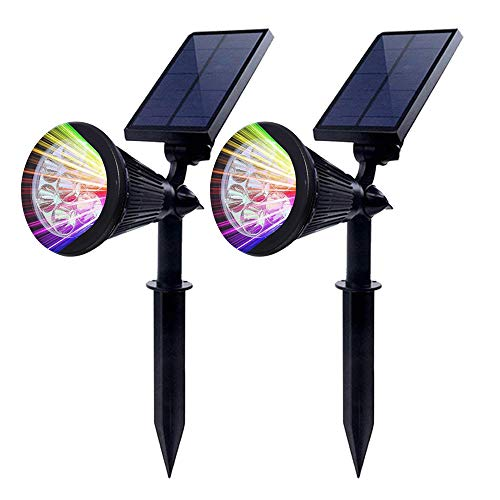 2 Stück Chao zan Gartenleuchten [Farbe ändern], 7 RGB Farbe LED Lampenperlen,Solar Lichter Auto-on/off,Flag Pole Lichter, Wasserdichte Outdoor Spot Licht für Garten, Pool, Baum, etc.